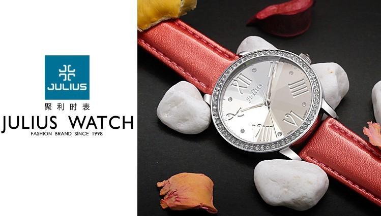 Top Julius Lady Woman Wrist Watch Big Fashion Hours Korea Dress Bracelet Hollow Roman Leather School Student Girl Gift JA-775
