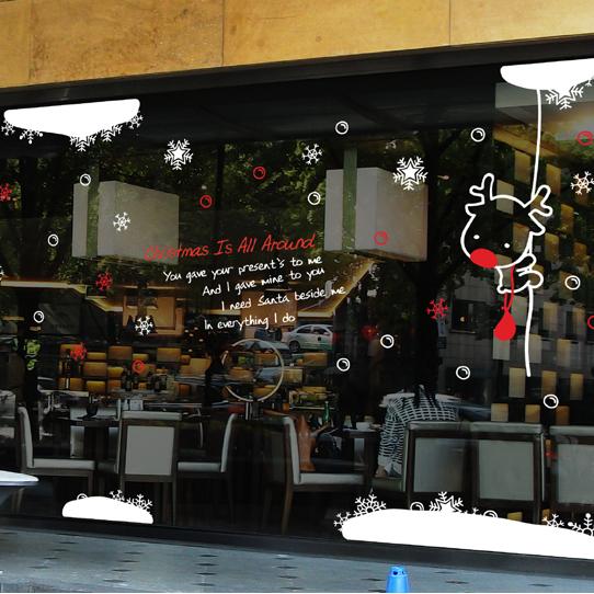 free shipping 2015 Christmas X mas buck Large wall glass window sticker decal shop home decor wall decoration xmas026(China (Mainland))