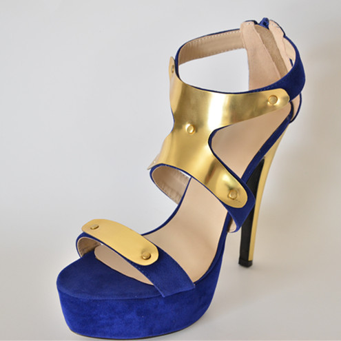 Sparkling Sequined Open Toe 2015 Blue Color Thin High Heels Sandals Summer Fashion Made To Order Platform Suede Leather Shoes<br><br>Aliexpress