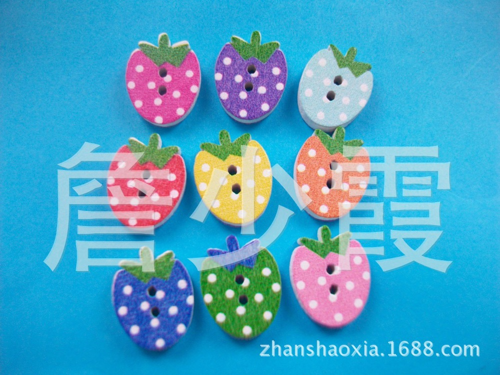 Children colorful wood strawberry buttons clothes accessories handmade DIY 16 * 12.5MM 150 pcs(China (Mainland))