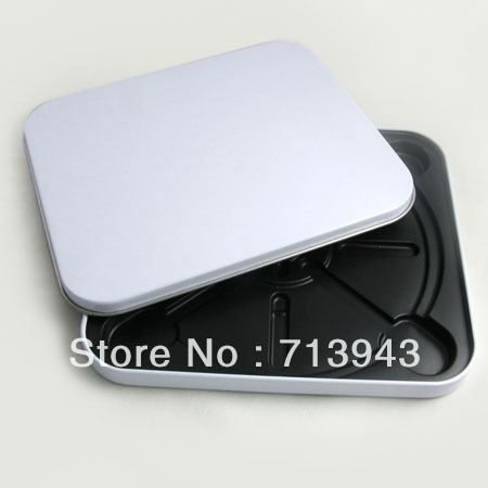 141MMX123MMX11MM rectangle cd metal case/ metal CD box with white printing/CD holder(China (Mainland))