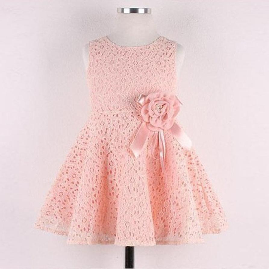 Dec 16 Amazing Summer Lovely 1PC Girls Kids Lace Floral Sleeveless Princess Dress(China (Mainland))
