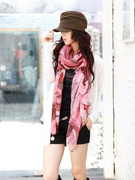 2015 Summer Style Begonia Scarf Female Thin Silk Nice Chiffon Scarf Women Patterns Sunscreen Cape Pashmina Scarf Shawl WJ1800