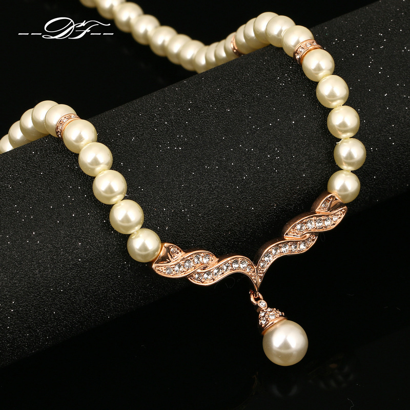 Luxury Pearl Beads Necklaces & Pendants Wholesale 18K Rose Gold Plated CZ Diamond Fashion Jewelry For Women Gift colares DFN080(China (Mainland))