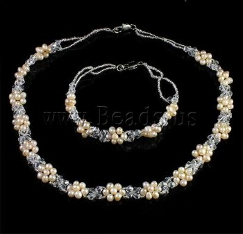 Jewelry DIY Natural Freshwater Pearl Jewelry Sets,necklace &bracelet,with glass seed beads &crystal beads & iron lobster clasp