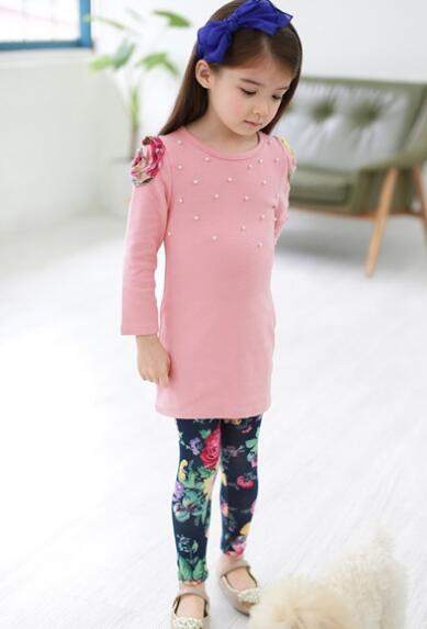 Girls Winter And Autumn Clothing Set Peteral T Shirt And Flower Pants Fall Children Clothes Suit For Toddler<br><br>Aliexpress