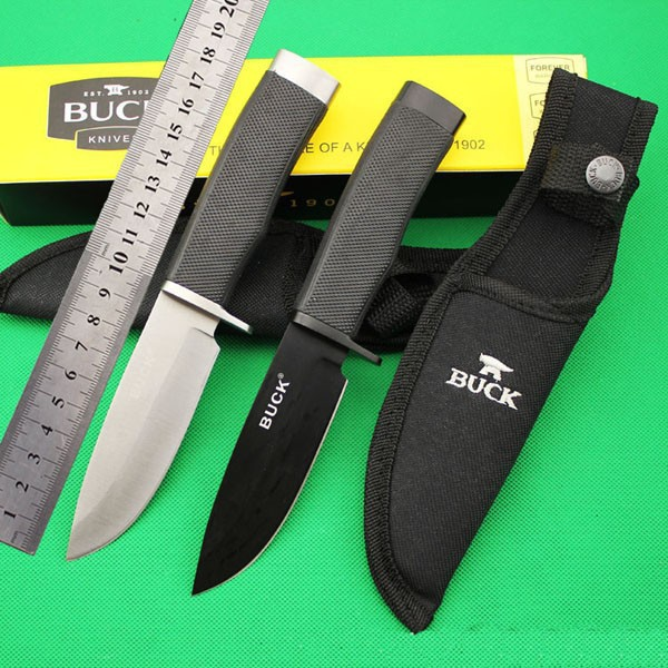 BUCK 56HRC 5Cr15MoV Fixed Blade Knife Outdoor Survival Camping Hunting Rescue Tool Black White Color