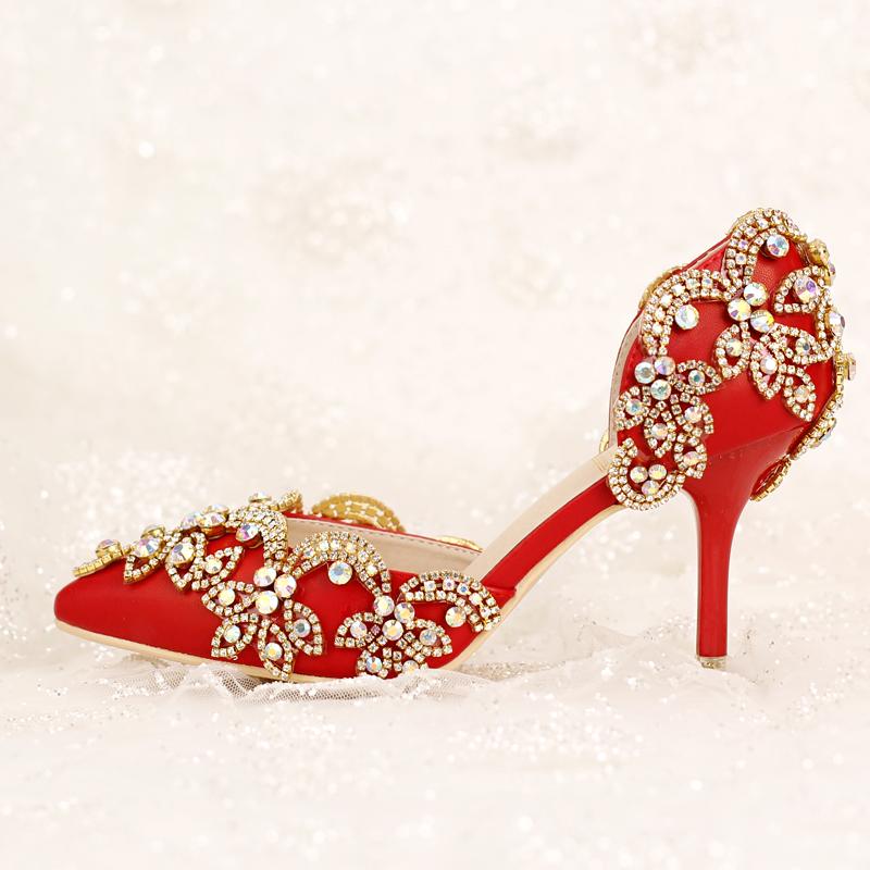 Rode Schoenen Met Hoge Hakken