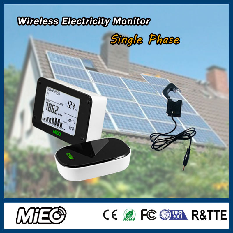 Wireless Electricity Energy Monitor Saver for Renew Power Generation Solar Energy Saving Project Single Phase HA102 CT3 Mieo(China (Mainland))