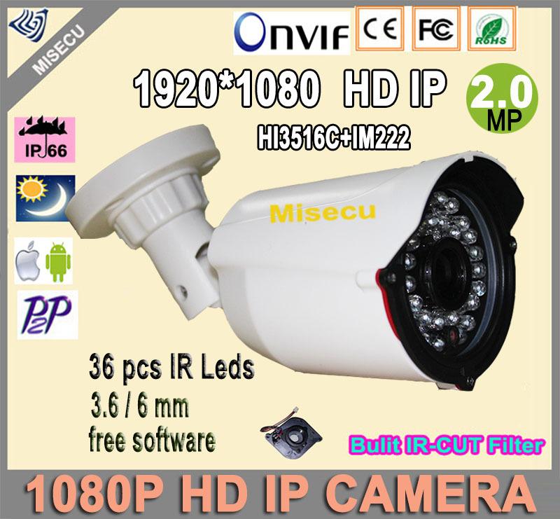 Гаджет  Full 2.0MP HD IP camera Onvif P2P HD bullet IP NIght Vision Camera 1920*1080P HI3516C+IM222 ABS Camera cctv home security free None Безопасность и защита