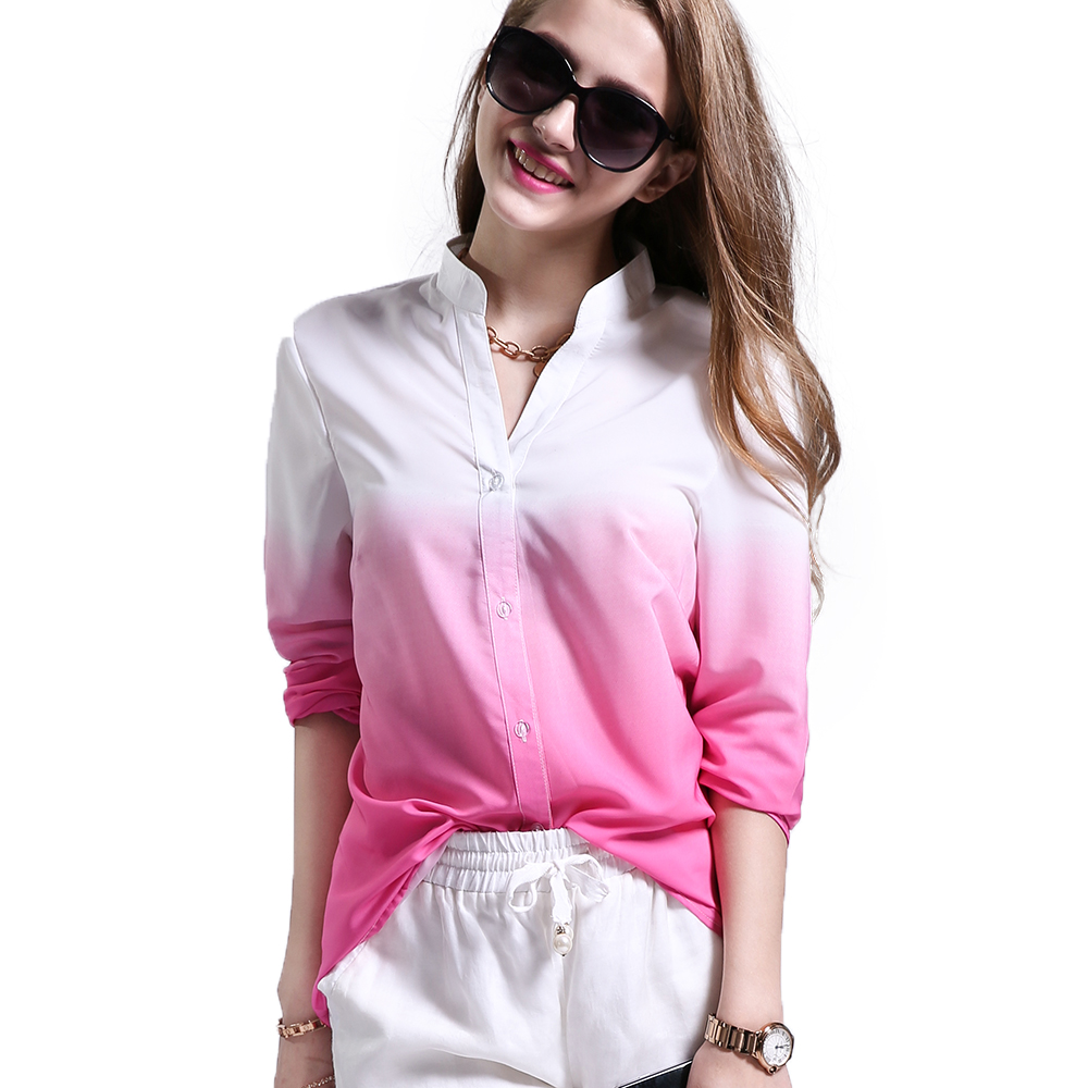Fashion Women Cotton Blouse Gradual Change Pink Color Blouses Casual Style Long Sleeve Female's Shirts Tops(China (Mainland))
