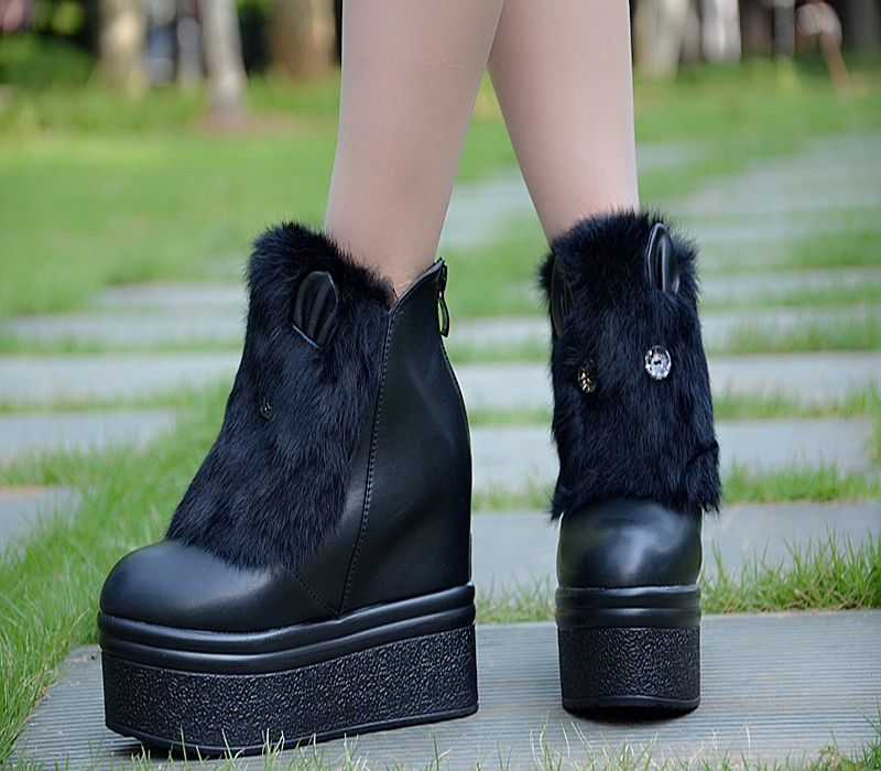 2016 Autumn And Winter Thick Bottom Female Ladies Black High Heeled Shoes Increased 13CM Korean Boots Artificial Short Plush