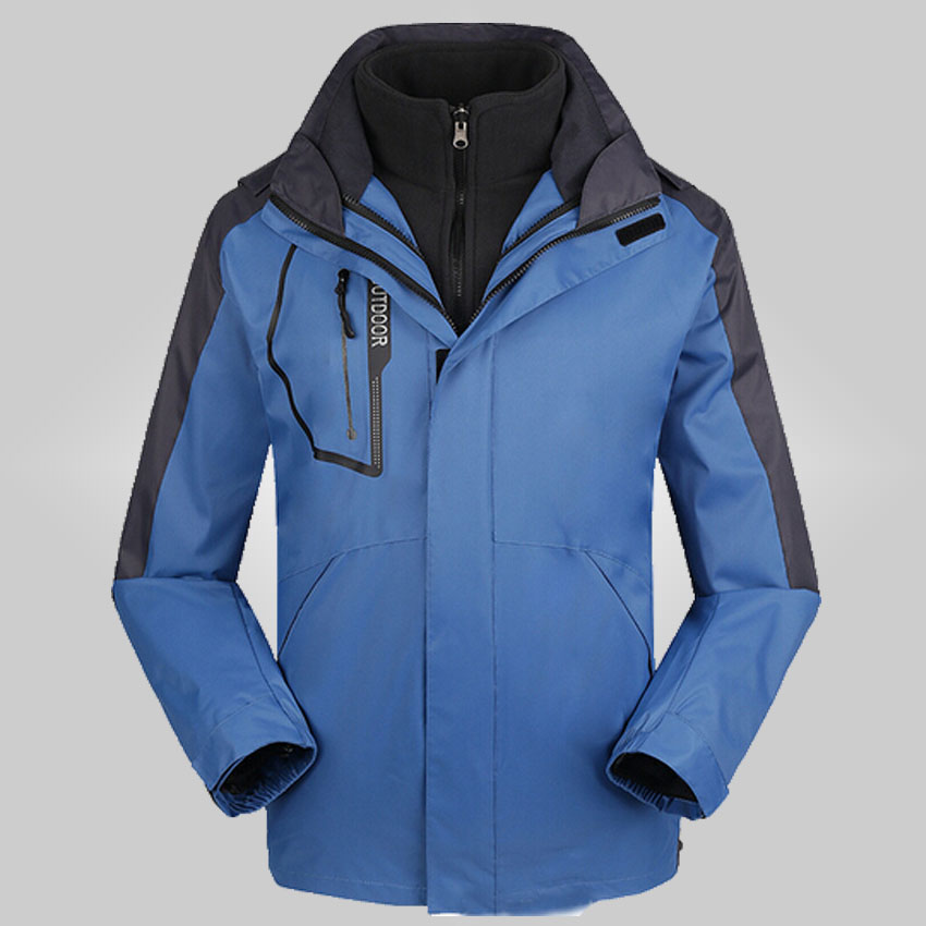 2015 new winter male three one two sets double - sided velvet thick climbing ski jacket S-2XL 155df