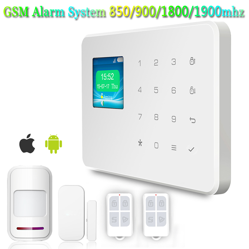 Wireless IOS/Android App Control 1.7-inch TFT Color Screen Touch Keyboard High-end GSM Burglar Alarm System Voice Prompt(China (Mainland))