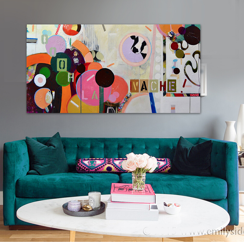 Hand-painted oil painting modern abstract pink circle pop art office sepia original canvas wall art home decor(China (Mainland))