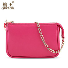 Hot Pink Clutch Wallet Genuine Leather Luxury Brand QIWANG Pink Wallet Ladies Hand Clutch Purse Sales