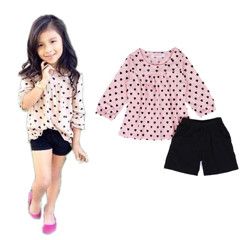 2-7Y 2 Pcs New Fashion Lantern Three Quarter Sleeve Heart Print Kids Girls Outfit + Black Shorts Girls Kids Clothes 2015 10121(China (Mainland))