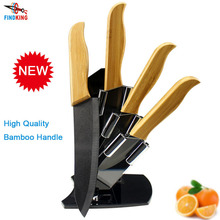 "FINDKING Brand High sharp quality Bamboo handle with black blade Ceramic Knife Set  3"" 4"" 5"" 6 "" inch+Holder/Stand(China (Mainland))"