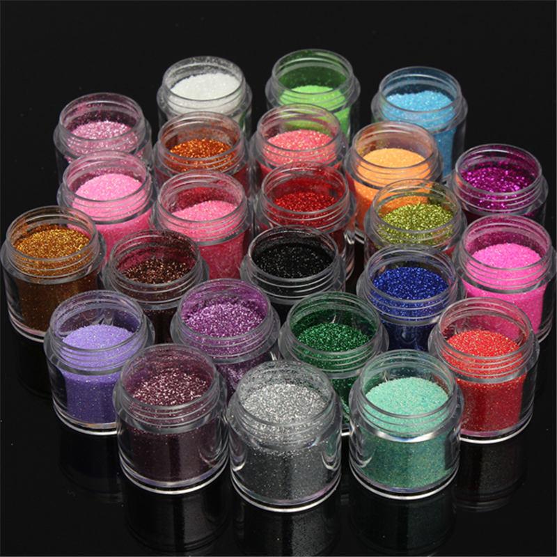 24pcs Acrylic Nail Art Metal Glitter Manicure Tips Shiny UV Powder For Beauty Nails DIY Tools Accessories<br><br>Aliexpress