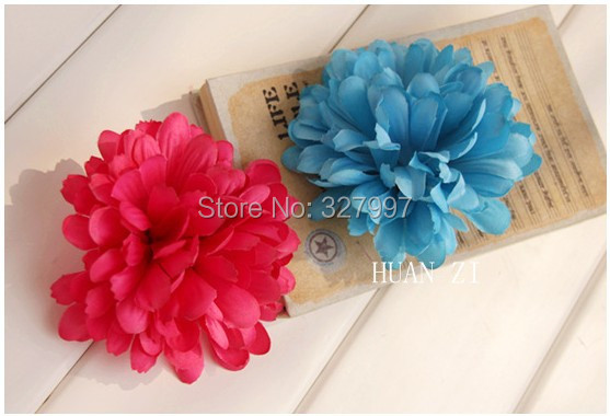 50xHotsale bohemia artificial silk 13cm blue pink daisy ball flower crosage wedding decoration hat shoes bag clothes brooches(China (Mainland))