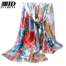 2016 женщины зиму шарф платок весна осень роза шифон шелковые шарфы печатных летом пляж n-ups