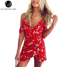 Buy Lily Rosie Girl Women 2017 Shoulder Floral Boho Deep V-neck Summer Mini Red Dress Empire Print Sexy Beach Dresses Vestidos for $11.99 in AliExpress store