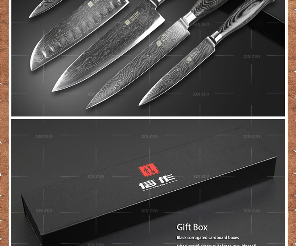 Buy XINZUO 5 pcs kitchen knives set 73 layer Japanese VG10 Damascus kitchen knife set cleaver chef utility wood handle free shipping cheap