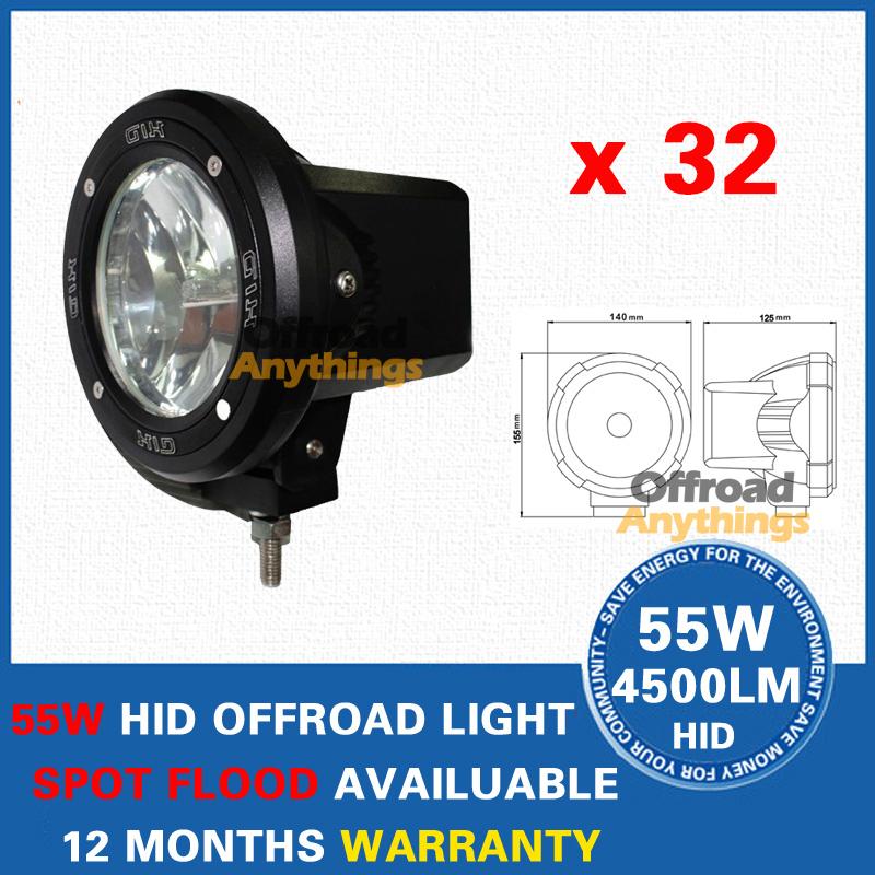 "32X 4"" Spot/Flood Beam Truck/Boat Fog Lamp 100W Hid Driving Lights HID Off Road Light Xenon Work Lighting Offroad Car Lamp(China (Mainland))"