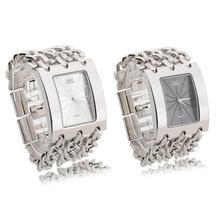 Fashion Women Ladies Quartz Watch Wristwatch Stainless Steel Alloy Silver White/Black Rectangle Dial Chain Link Bracelet New(China (Mainland))