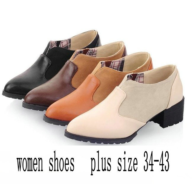 New  2014 Fashion Comfortable Pointed Toe Shoes Ladies All-Match Oxford Loafers Shoes For Women Ankle Boots Plus Size<br><br>Aliexpress