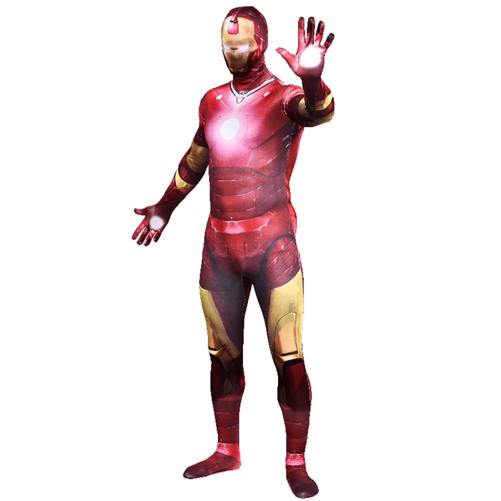 Avengers 2 Age of Ultron Iron Man Costume Adult Superhero Cosplay Full Bodysuit Zentai Halloween Costumes Jumpsuits Clearance(China (Mainland))