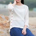 Women Blouse 2016 New Style Female Vestidos O neck Three Quarter Solid Irregular Shirts Casual Loose