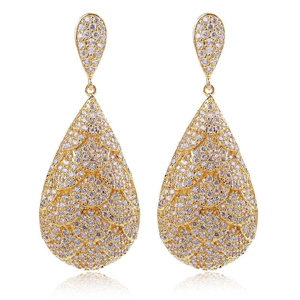 New Brand New Deluxe Crystal EarringsCZ Stone Large Earrings 478 pcs of CZ Cadmium Free Free Nickel Bridal Accessory Presents(China (Mainland))