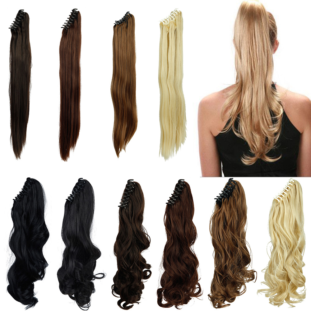 1PC Straight Ponytail Hair Extension 55cm 22inch Real Natural Synthetic Ponytails Long Claw In Pony Tail Clip in Hair Extensions(China (Mainland))