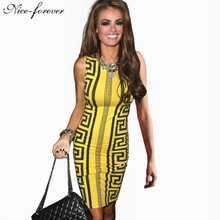Nice-forever Casual Fashion sexy women White summer dress Aztec Tribal Rocco Sleeveless Novelty Print bodycon pencil dress 750(China (Mainland))