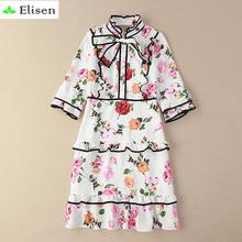 Cute Dress New 2016 Summer Fashion Brand Luxury Halft Sleeve Knee-Length Elegant Floral Print Bow White Women Dress(China (Mainland))