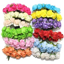 144PCS/lot 1.5cm head Multicolor Artificial Paper Flowers Rose Used For Decorative Gift(China (Mainland))