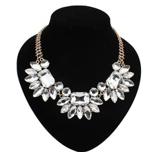 Free Shipping Lady Large Flower Exaggerating Necklace Luxury Rhinestone Necklaces For WomenGEM Antique Finish Jewelry Accessary(China (Mainland))