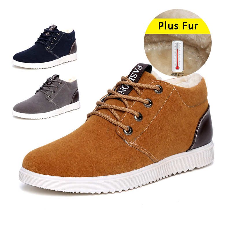 Гаджет  New Arrival Men Shoes Casual Lace Up Warm Winter Shoes For Men Casual Shoes Suede High Top Shoes  None Обувь