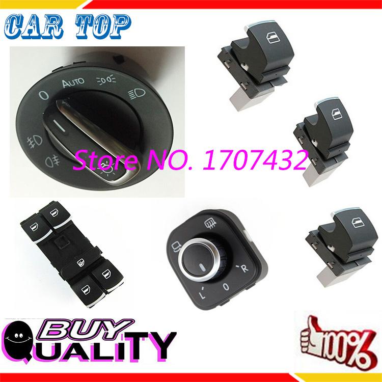 Free Shipping good Auto Headlight Switch+Side Mirror Window Switch button For VW Tiguan Passat B6 CC Golf 5 6 Jetta MK5MK6, 6pcs<br><br>Aliexpress