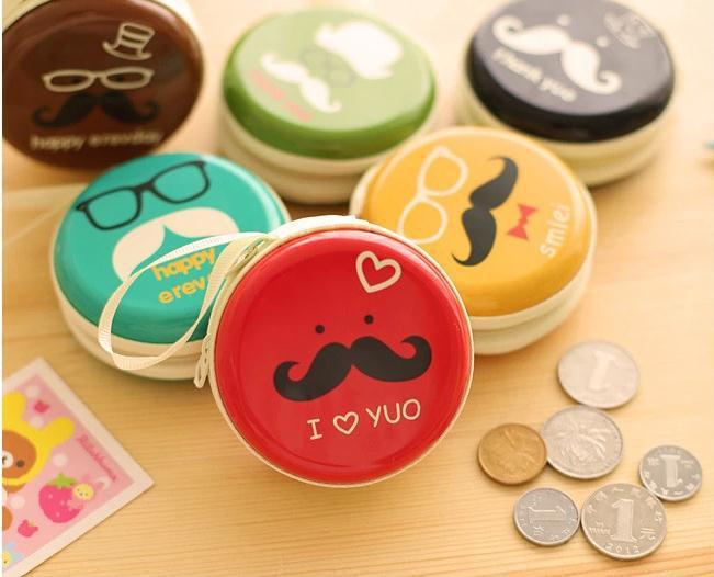Cute Beard Glasses Headset Case Earphone Box Headphone Coin Keys Box Storage Bag Hard Tinplate Zipper Package(China (Mainland))