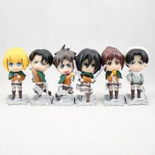 6pcs/lot 8cm PVC kawaii Cute Q version attack on titan figure Japanese anime figure toys Action Figure Collection Toy KA0187
