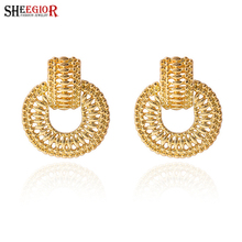 Fashion vintage hollow Gold Silver plating stud earrings for women Simple designed unique  2 connecting circular Earring jewelry(China (Mainland))