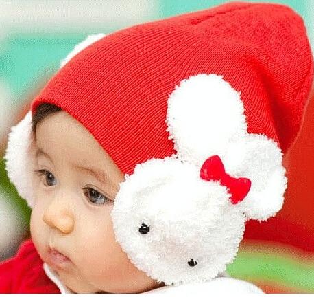 childre boys girls autumn and winter large bow baby hat baby hat rabbit style cap newborn hat female child cap(China (Mainland))