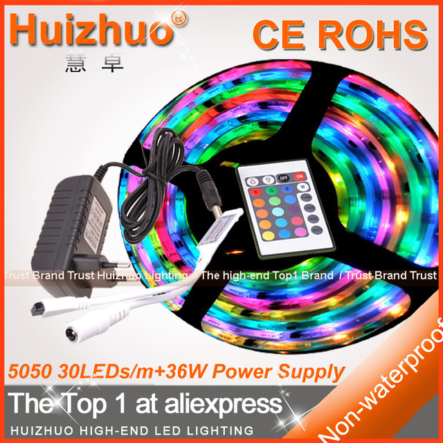 BIG DISCOUNT SMD5050 30leds/m DC12V Waterproof warm white/white/red/green/blue/RGB Flexible LED Strip With Power Supply