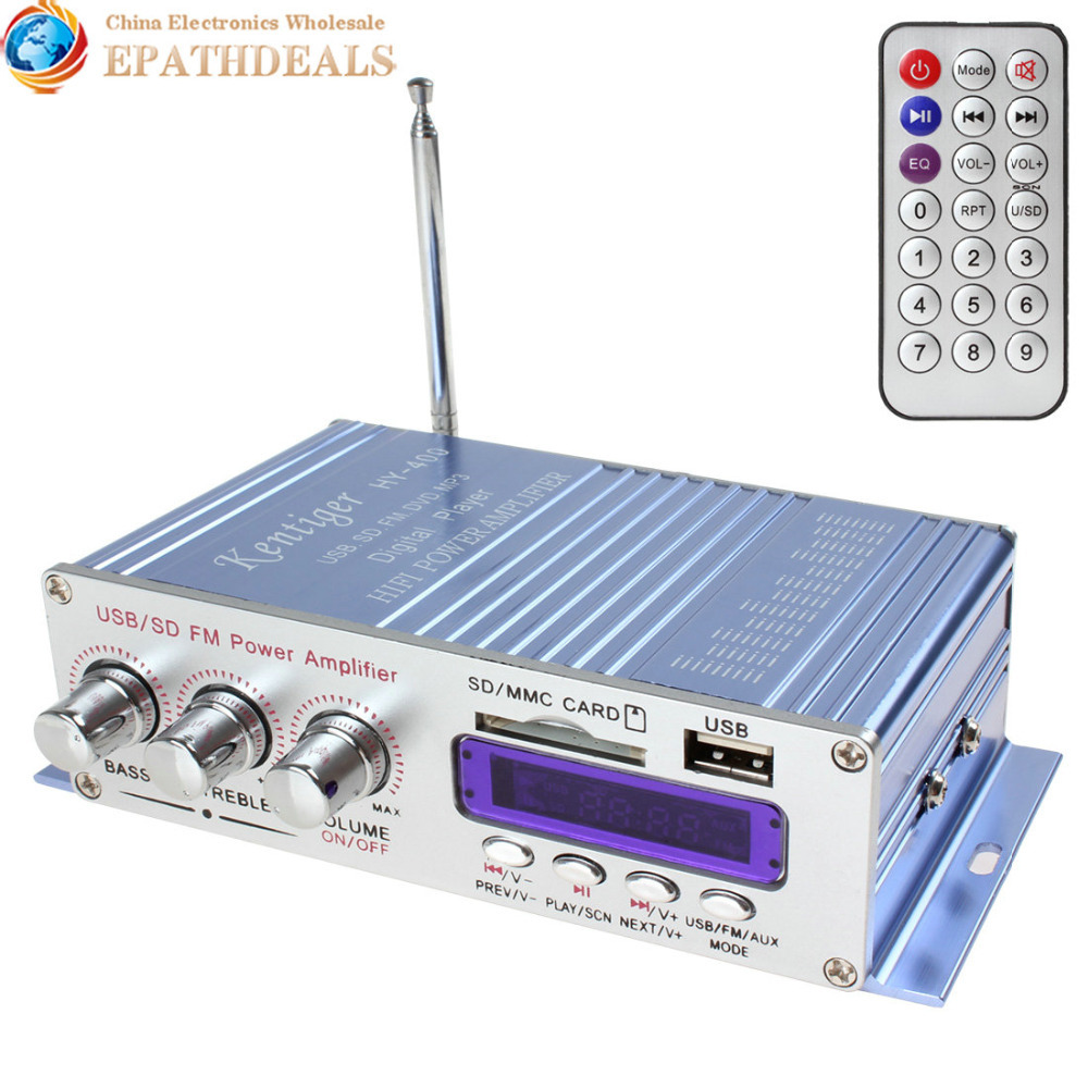 HY-400 12V Digital Display Auto Car Power Amplifier Stereo Audio Support USB / SD Card Input with Remote Control(China (Mainland))