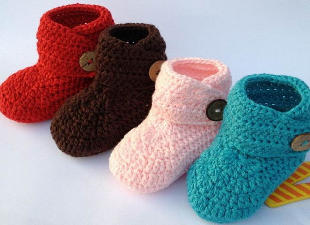 Hot sale Vintage Handmade afghan Crochet Baby girl boy beanie bootie for kids size 0-12 Months xmas
