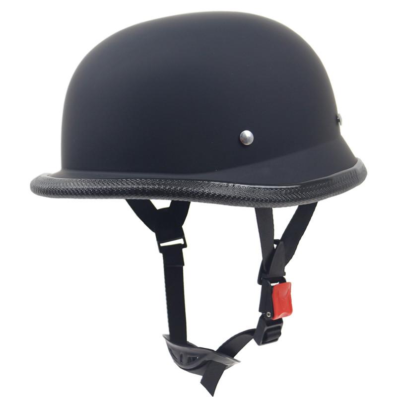 Harley style moto helmet 1Piece ABS Plastic Motorcycle Helmet Motorcross Capacete Half Helm Retro Matte Black Men 59-60cm