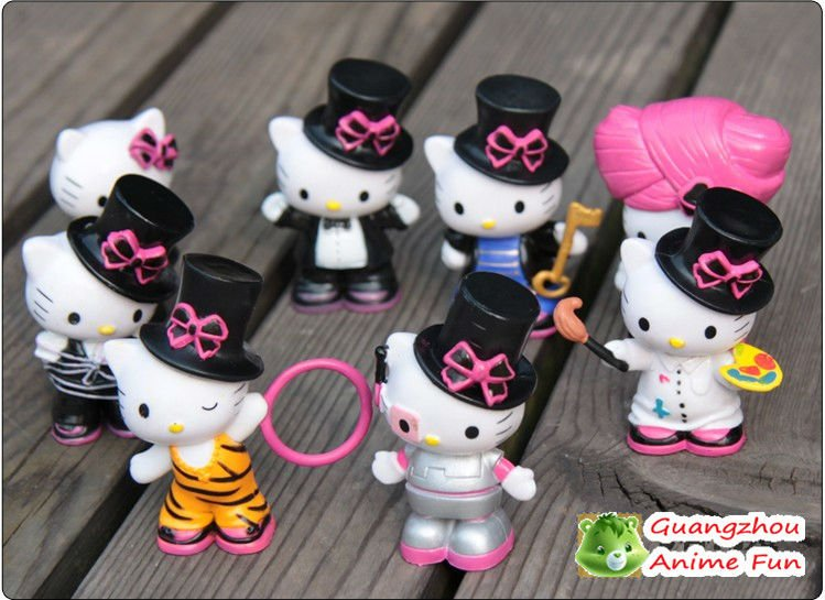 Free shipping,hello kitty pvc figure sets Magic Circus version 8pcs/set PVC 7cm/2.8 inches Height for xmas gift(China (Mainland))