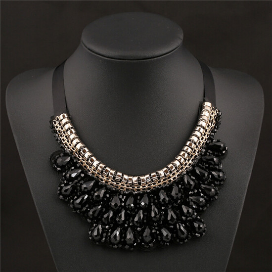 Fashion mysterious nobility with drill short black stones fake collar necklace exaggerated clavicle necklace<br><br>Aliexpress